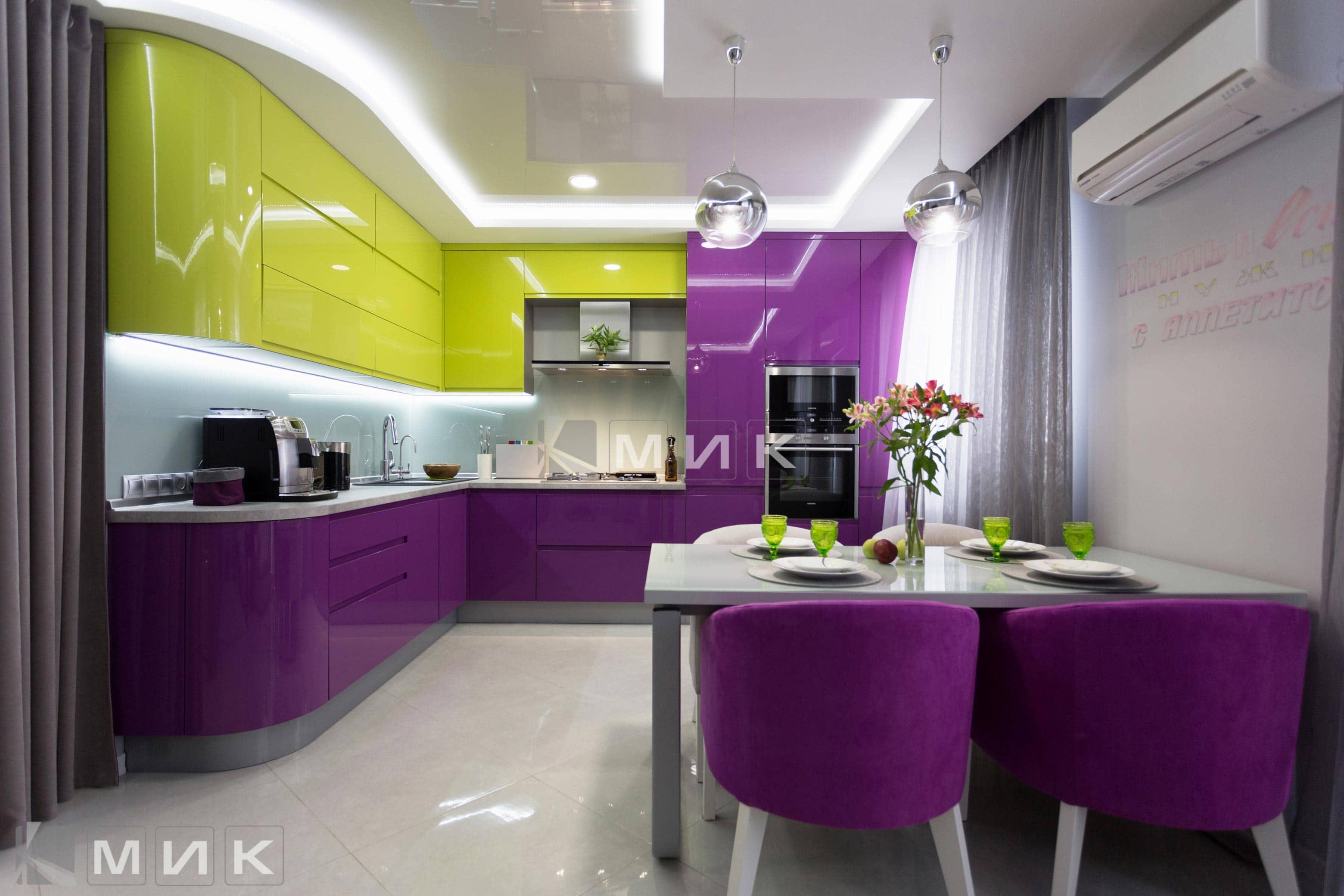 Кухни дизайн в лиловом цвете