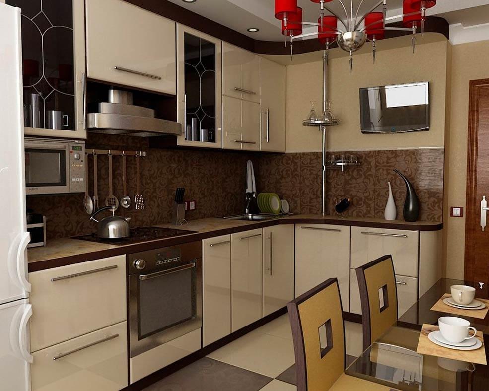 Дизайн кухни 9 кв.м прямая