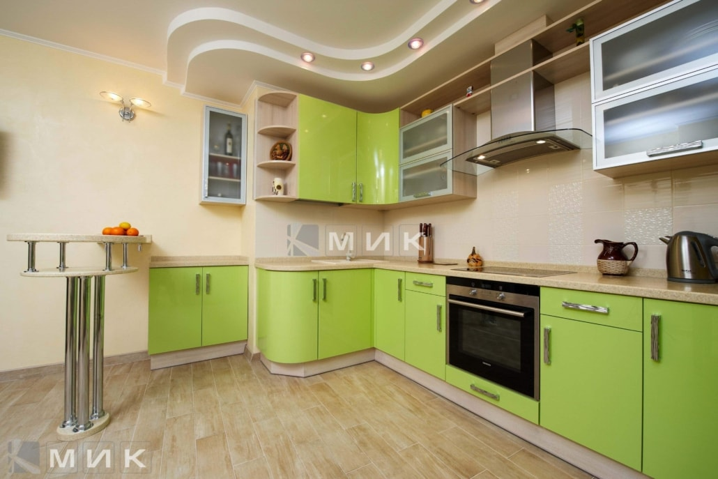 МДФ-кухня-в-салатовом-цвете-6007