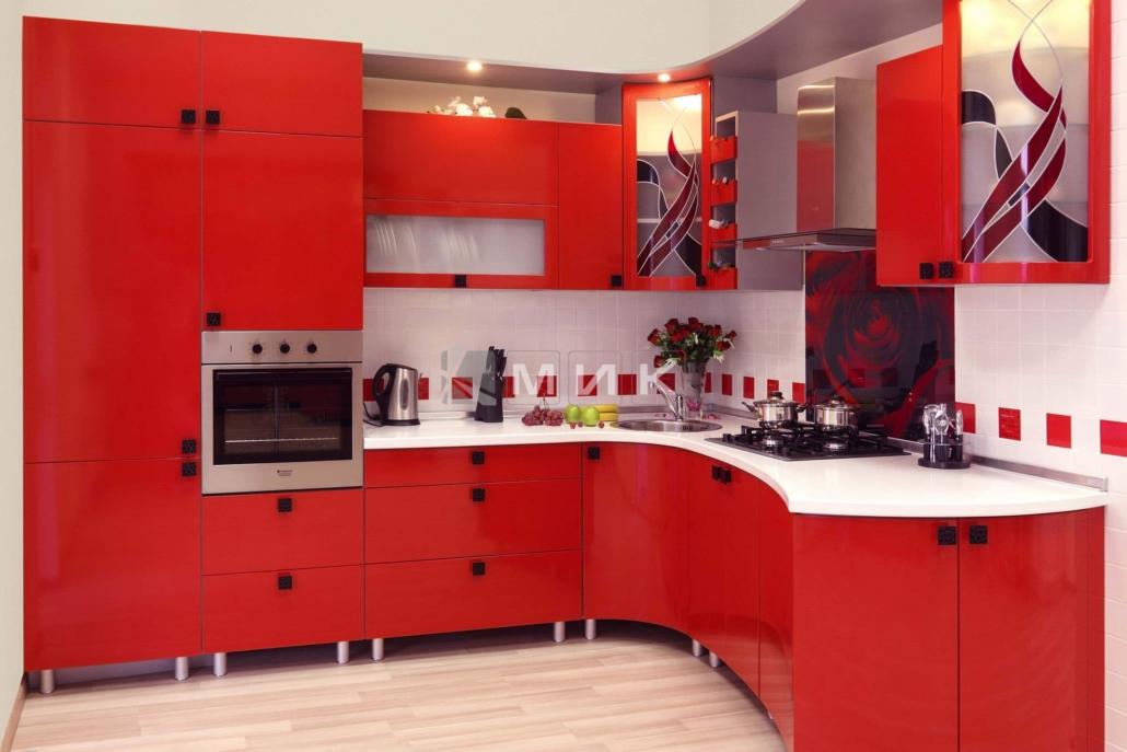 МДФ-кухня-красная-6016