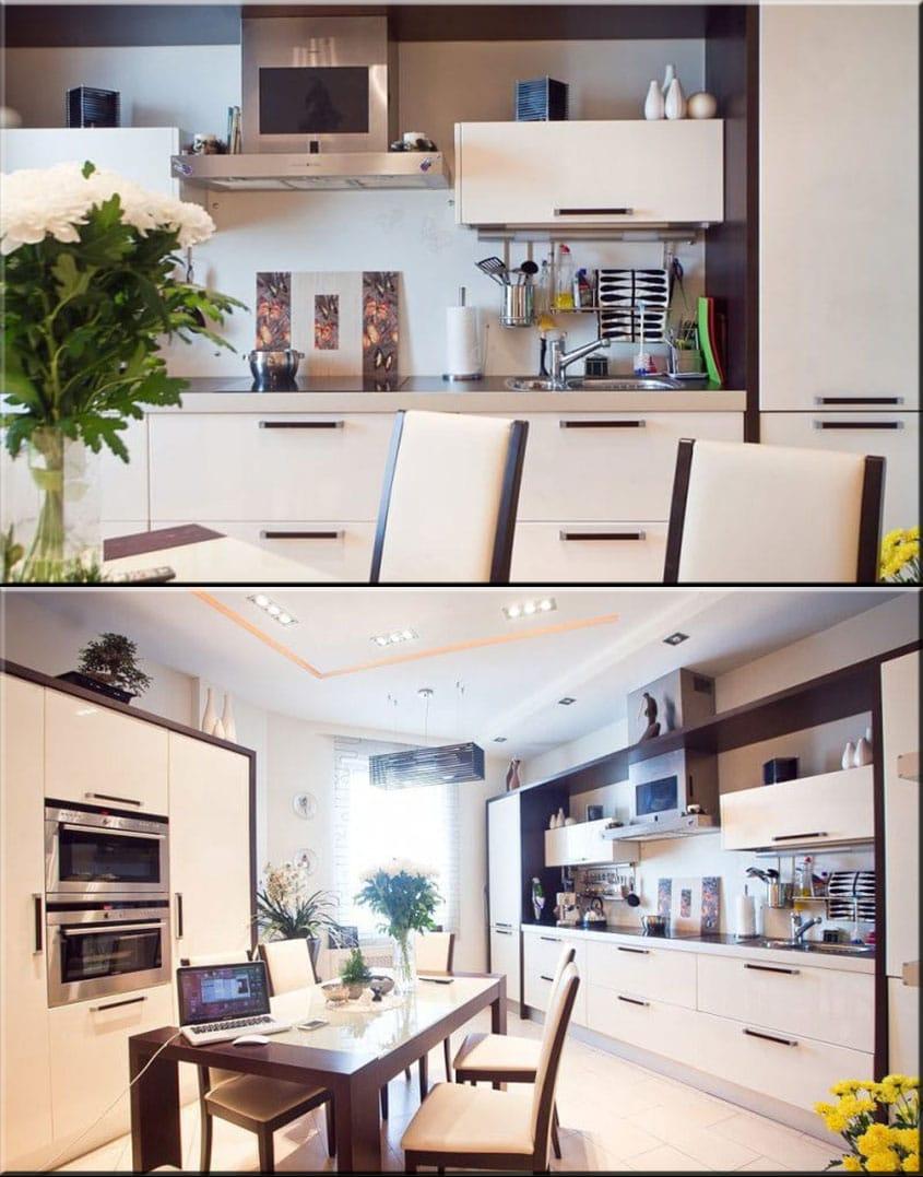 Ванильный-оттенок-и-коричневый-цвет-в-интерьере-кухни