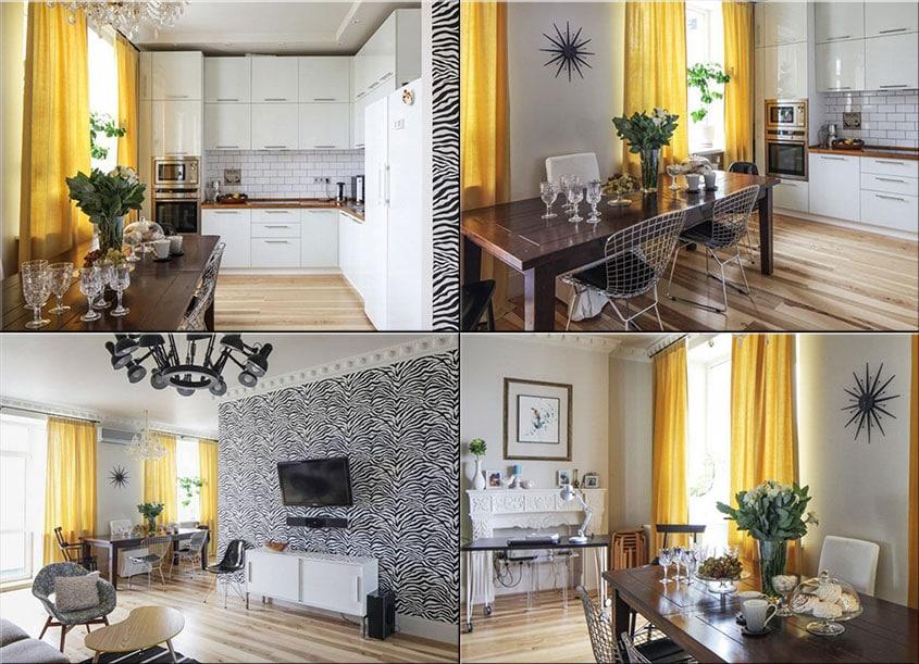 Желтые-шторы-в-интерьере-кухни