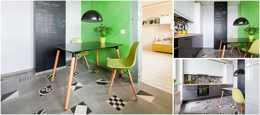 Зеленая-акцентная-стена-на-кухне