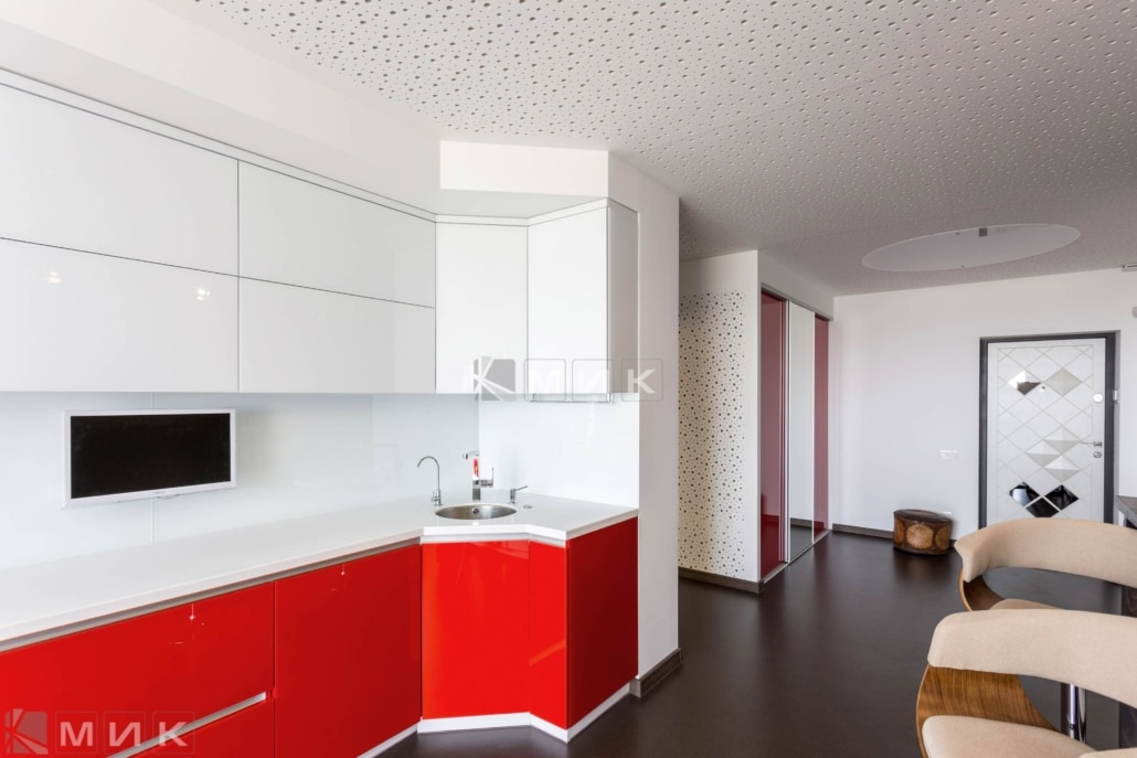 кухня студия с барной стойкой отличный дизайн для гостиной
