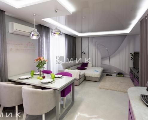 Кухня с гостиной-студия-желто-фиолетовая(обухов)-1010