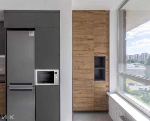 Кухня-фасад-пластик-серый-и-kleaf-1003