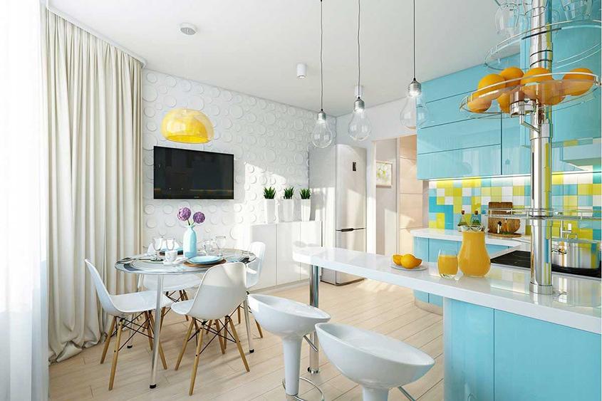 жёлто-голубая-кухня