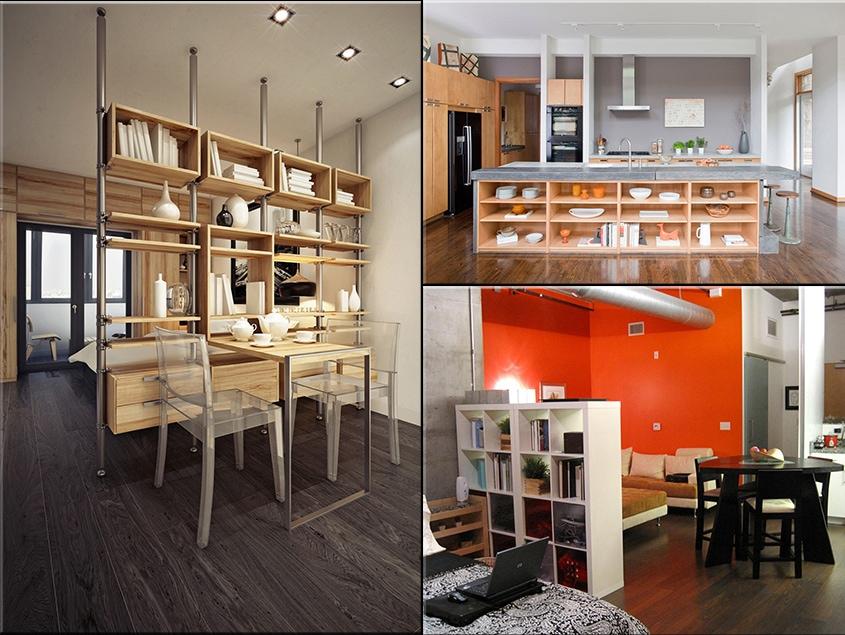 кухня-столовая-разделение-стеллаж