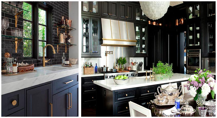 кухня-чёрная-с-золотом