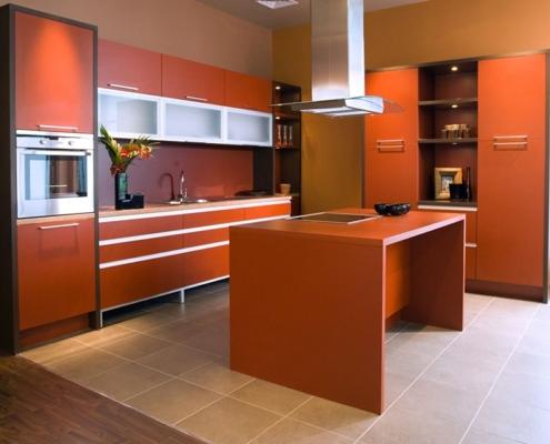 оранжевая-кухня-модерн