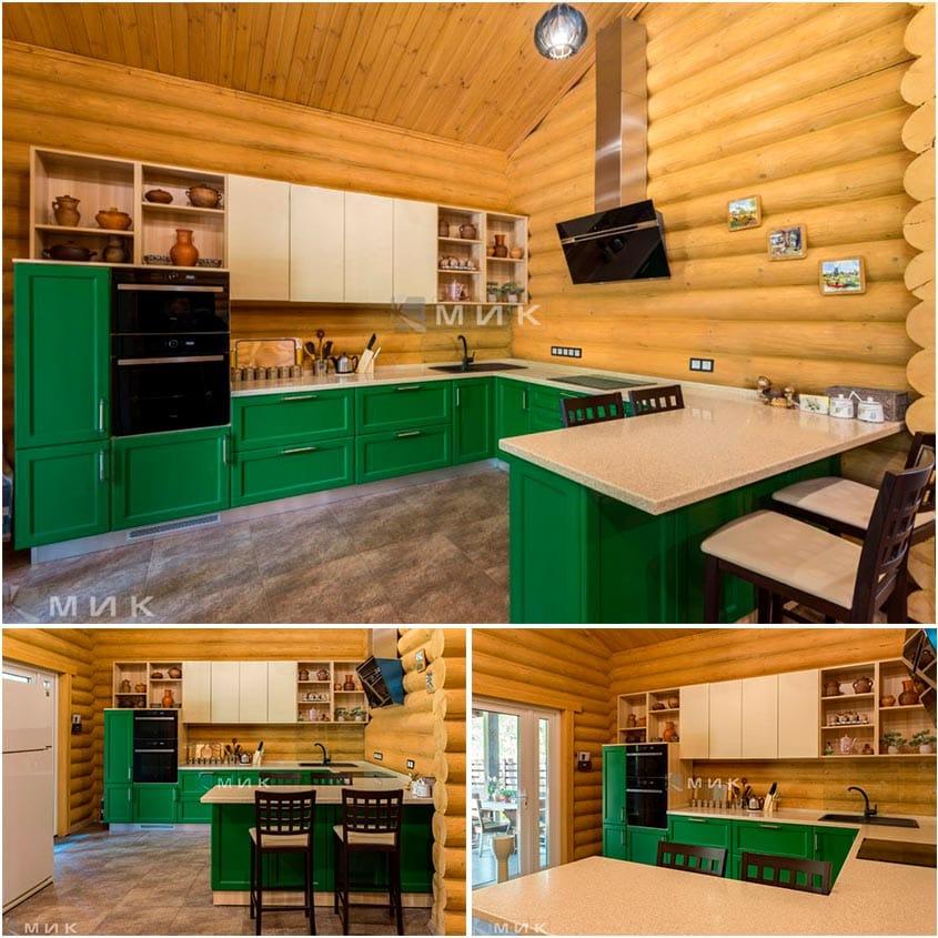 Кухня-зеленая-в-интерьере