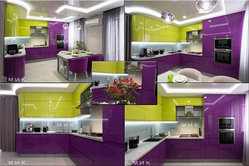 Кухня-студия-желто-фиолетовая