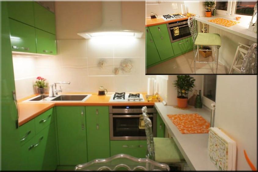 Оранжево-зеленая-кухня