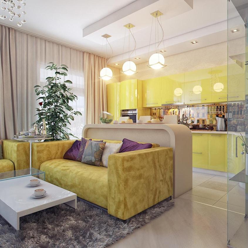 жёлтая-кухня-в-розовом-интерьере