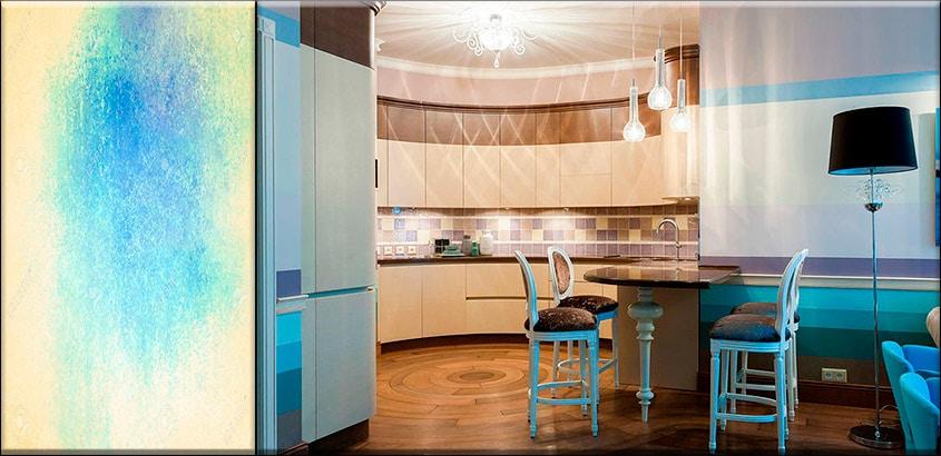 бежевая-кухня-в-голубом-интерьере