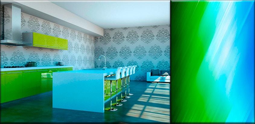 зелёно-голубая-кухня