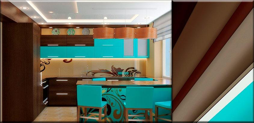 коричнево-голубая-кухня