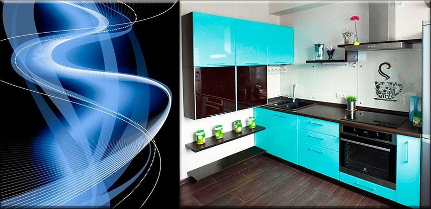 чёрно-голубая-кухня