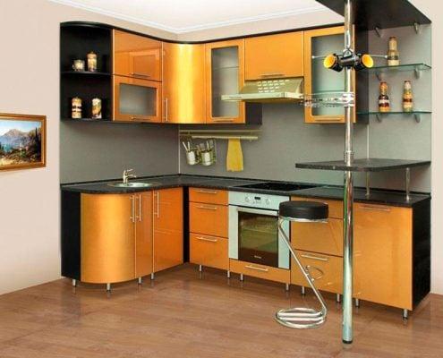 кухня-чёрно-золотая