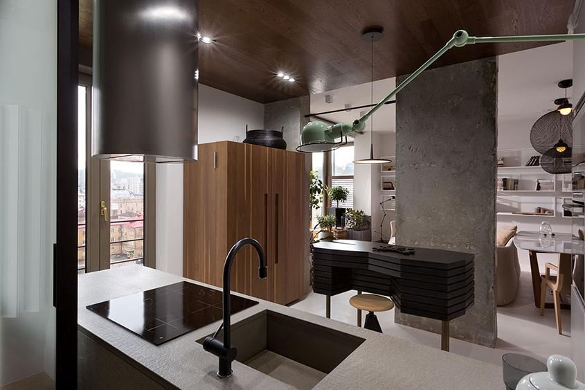 кухня-студия-перегородка-колонна