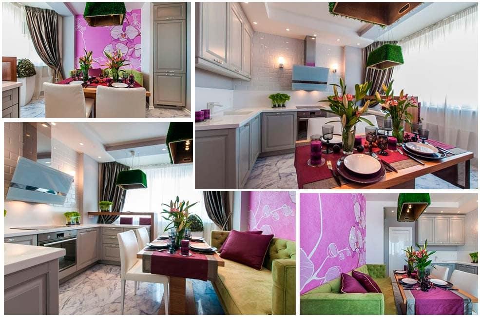 Бежевый-сиреневый-и-зеленый-цвета-в-интерьере-кухни