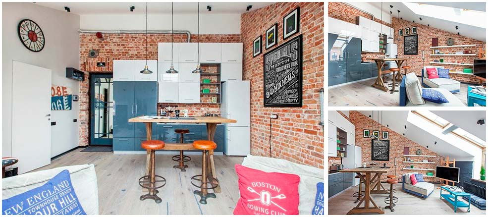 Кухня-в-стиле-лофт-в-мансардном-помещении