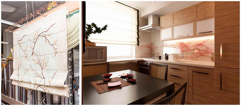 Римские-шторы-интерьере-кухни-в-японсом-стиле