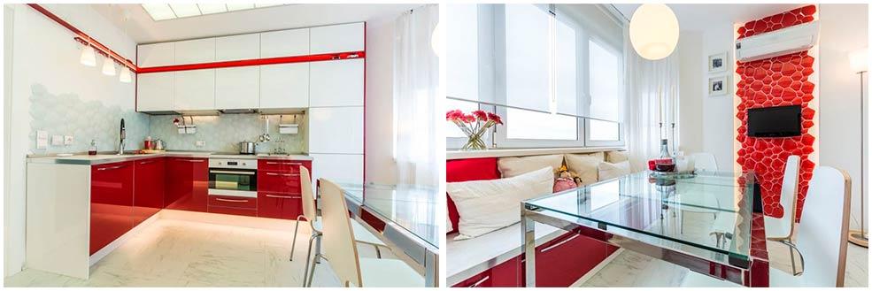 красно-белая-кухня-с-акцентной-стеной. При великому бажанні використовувати кухонні  меблі ... 9107fffd3ba5b