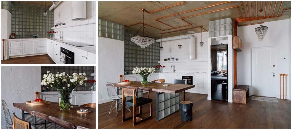 Стеклоблоки-на-кухне-в-стиле-лофт