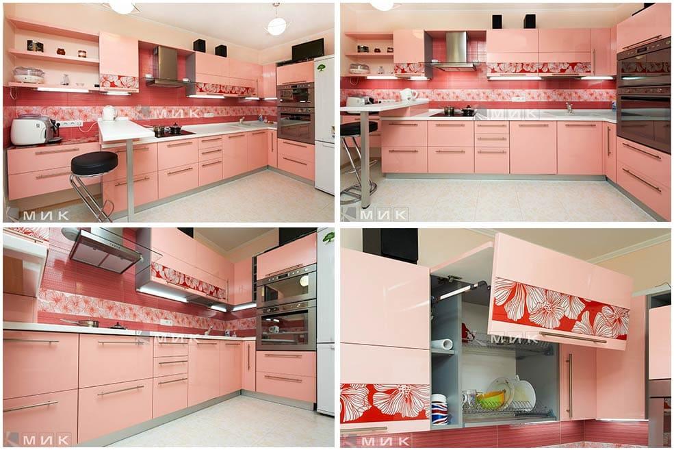розовая-кухня-с-красным-рисунком