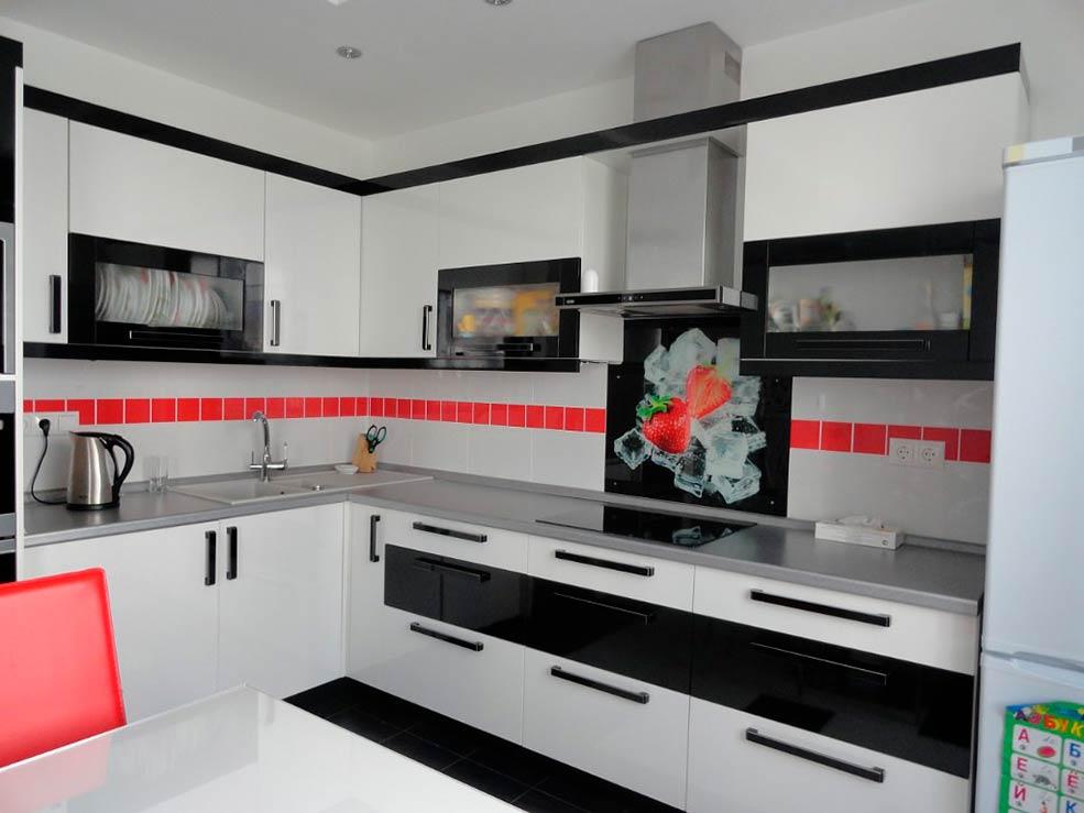 кухня-модерн-чёрно-белая