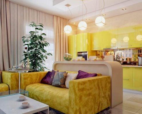 жёлто-бежевая-кухня