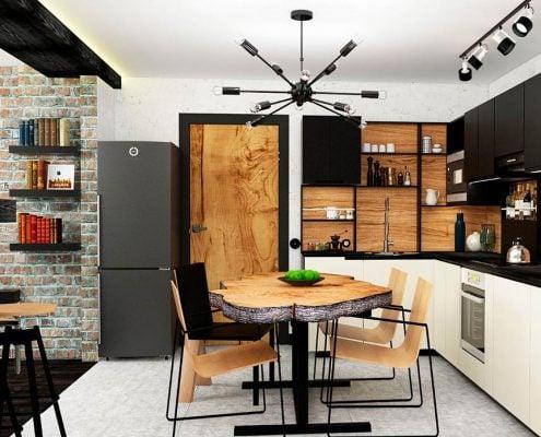кухня-студия-в-стиле-лофт
