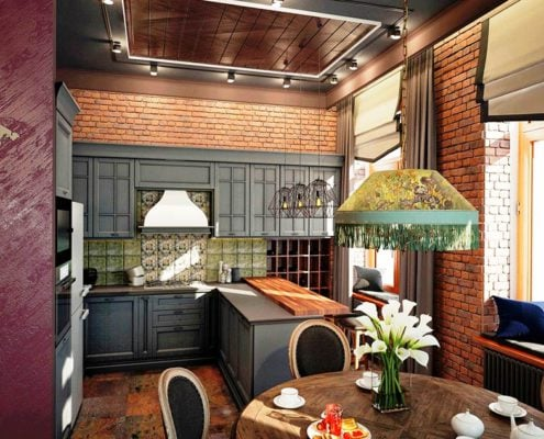 тёмно-серая-кухня-в-классическом-стиле
