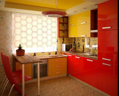 жёлто-красная-кухня