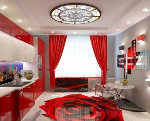 красные-шторы-на-кухне