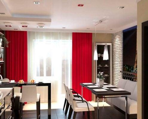 тёмно-красные-шторы-кухня