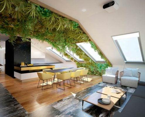 кухня-в-эко-стиле-мансарда
