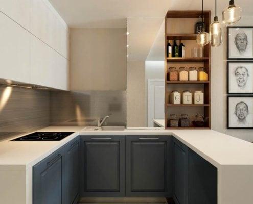 п-образная-кухня-минимализм