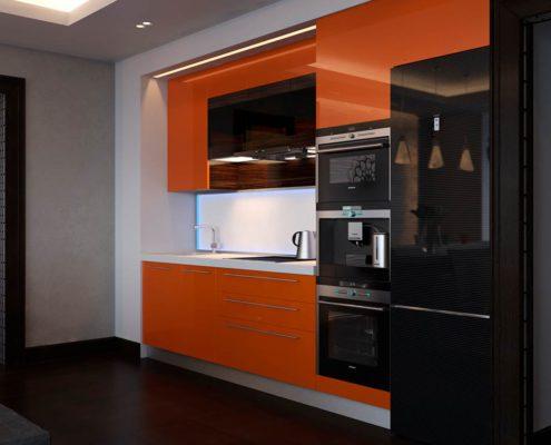 красная-кухня-минимализм