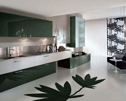 кухня-модерн-серые-стены