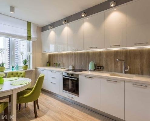 Белая-прямая кухня