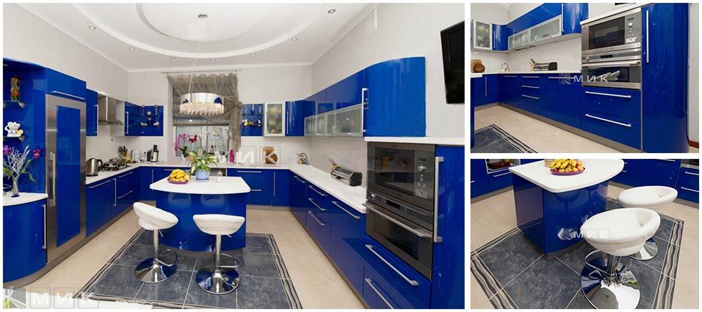п-образная-синяя-кухня