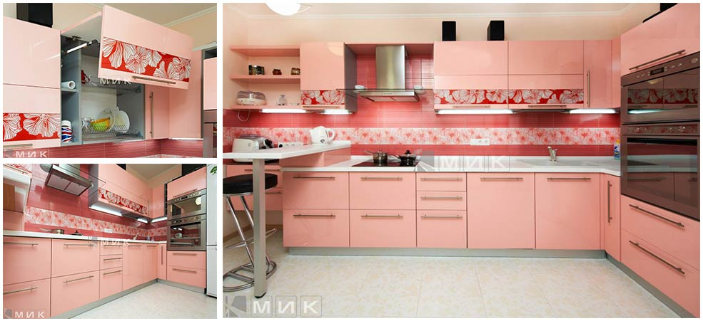розово-красная-кухня