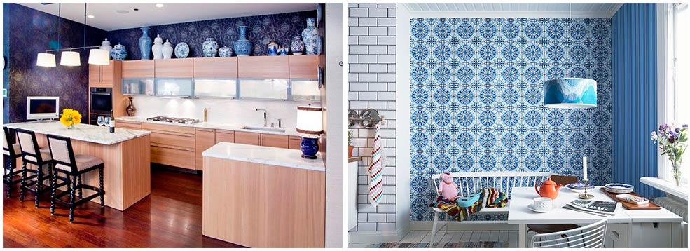 синие-обои-на-кухне