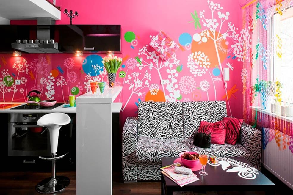 некоторых фото кухни комнаты дизайн с яркими обоями популярное