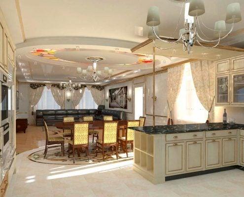 Дизайн-кухни-в-частном-доме-фото
