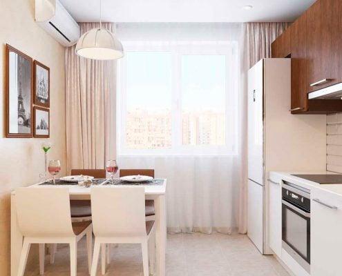 маленькая-бело-коричневая-кухня