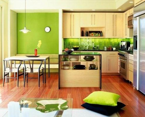 кухня-зелёного-цвета-фото