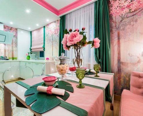 розово-зелёная-кухня